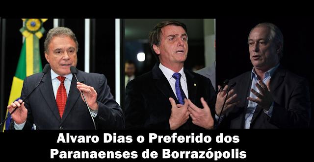 BOLSONARO CAI, ALVARO DIAS CRESCE E É O PREFERIDO DOS PARANAENSES DE BORRAZÓPOLIS