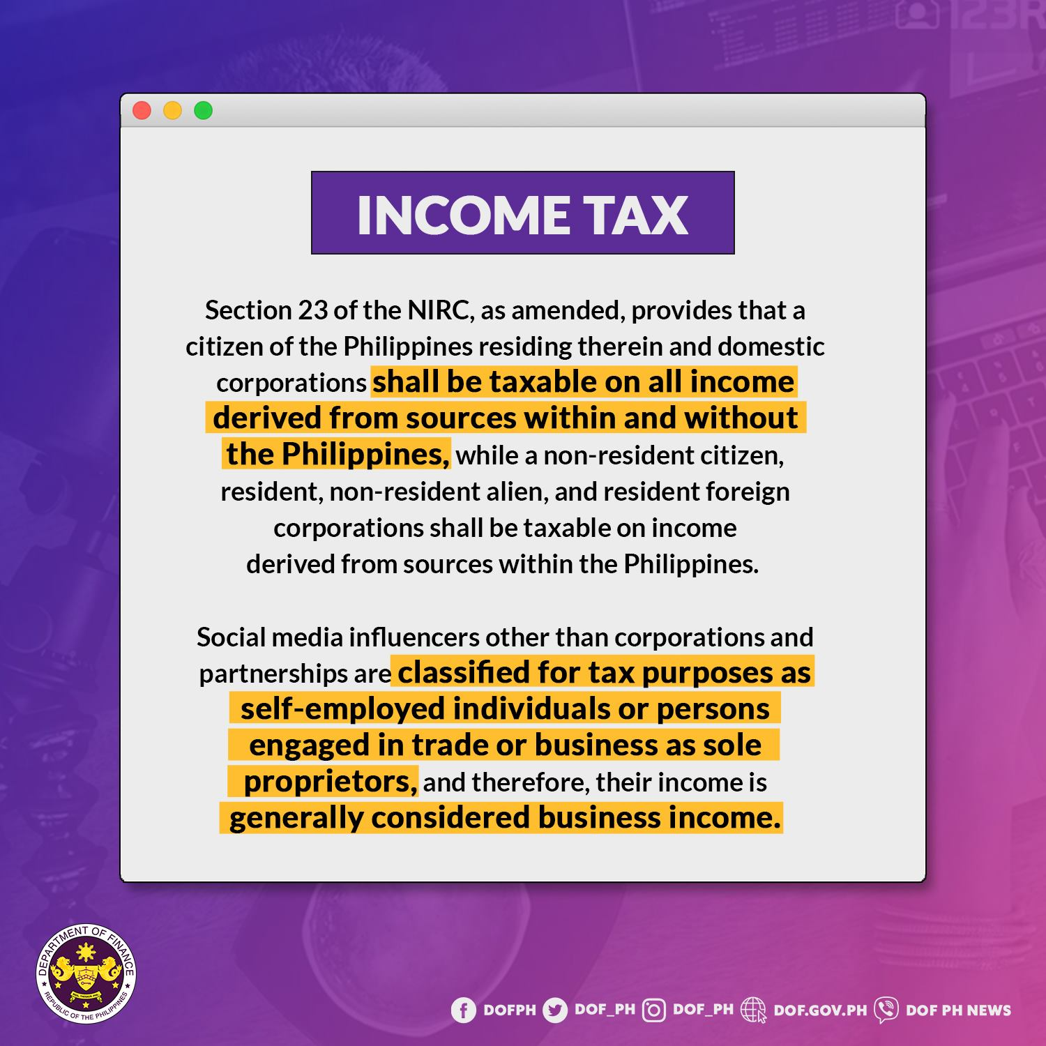 Income Tax: Section 23 of the NIRC