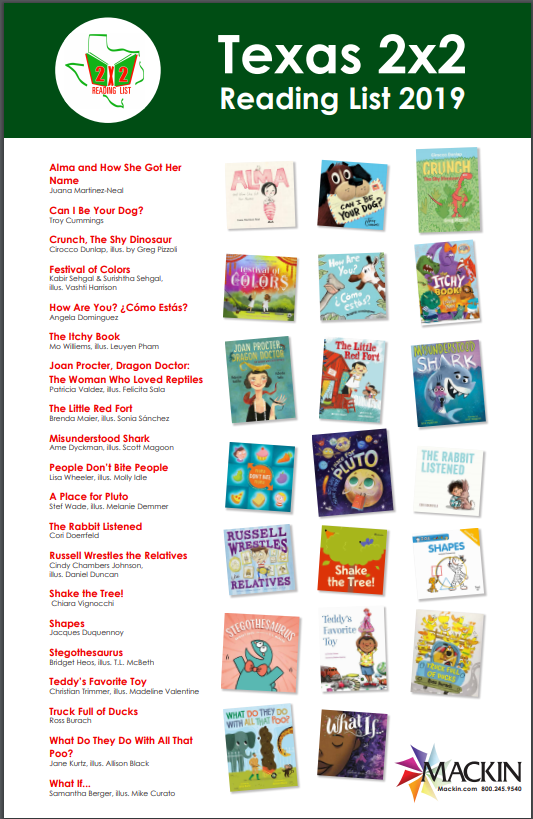 2020 Reading List.Pink Library Zone Texas 2x2 Reading List 2019 2020 Grades K 2