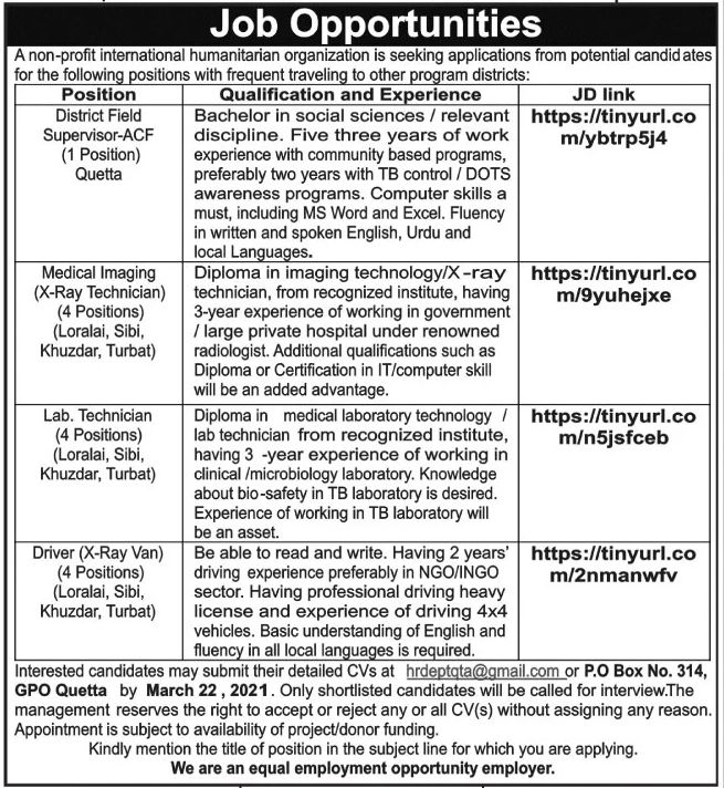 private,international humanitarian organization,district fied supervisor, medical imaging technician, lab technician, driver,latest jobs,last date,requirements,application form,how to apply, jobs 2021,
