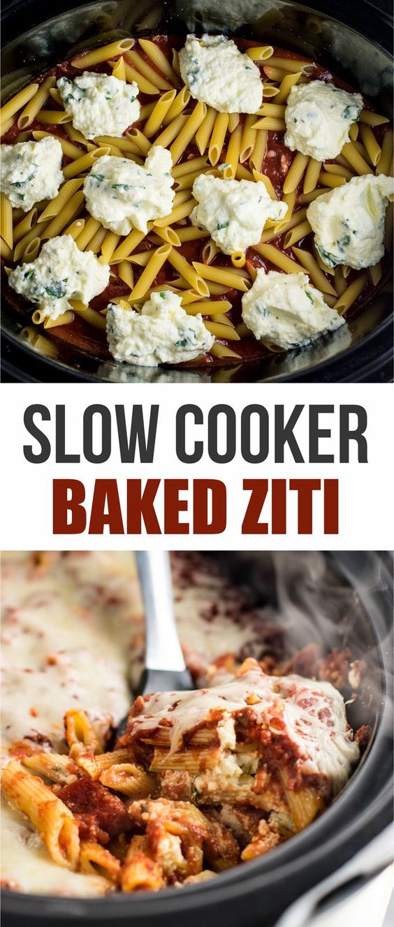 EASY SLOW COOKER  BAKED ZITI
