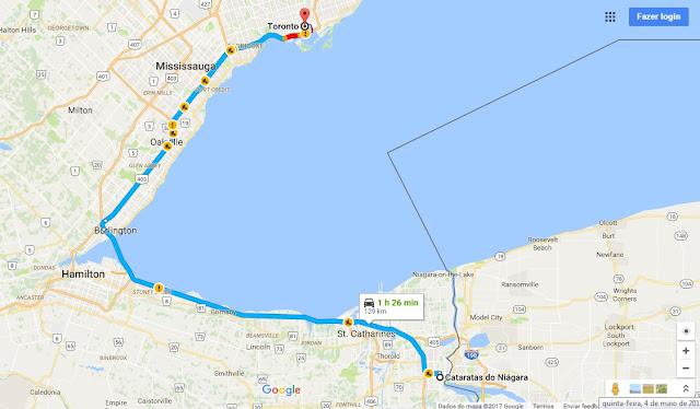 Viagem de carro de Toronto a Niagara Falls