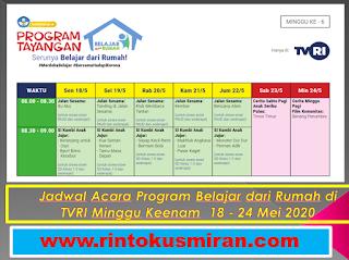 Jadwal Acara Program Belajar dari Rumah di TVRI Minggu Keenam  18 - 24 Mei 2020