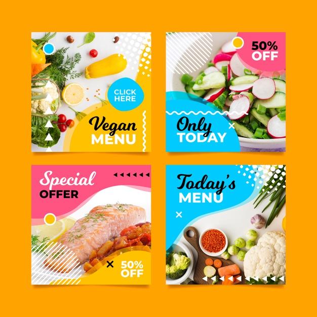 Special vegan menu social media post Free Vector