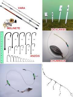 Foto de materiais para pesca de praia como vara, molinete, descanso, chumbada, anzol e chicote de pesca
