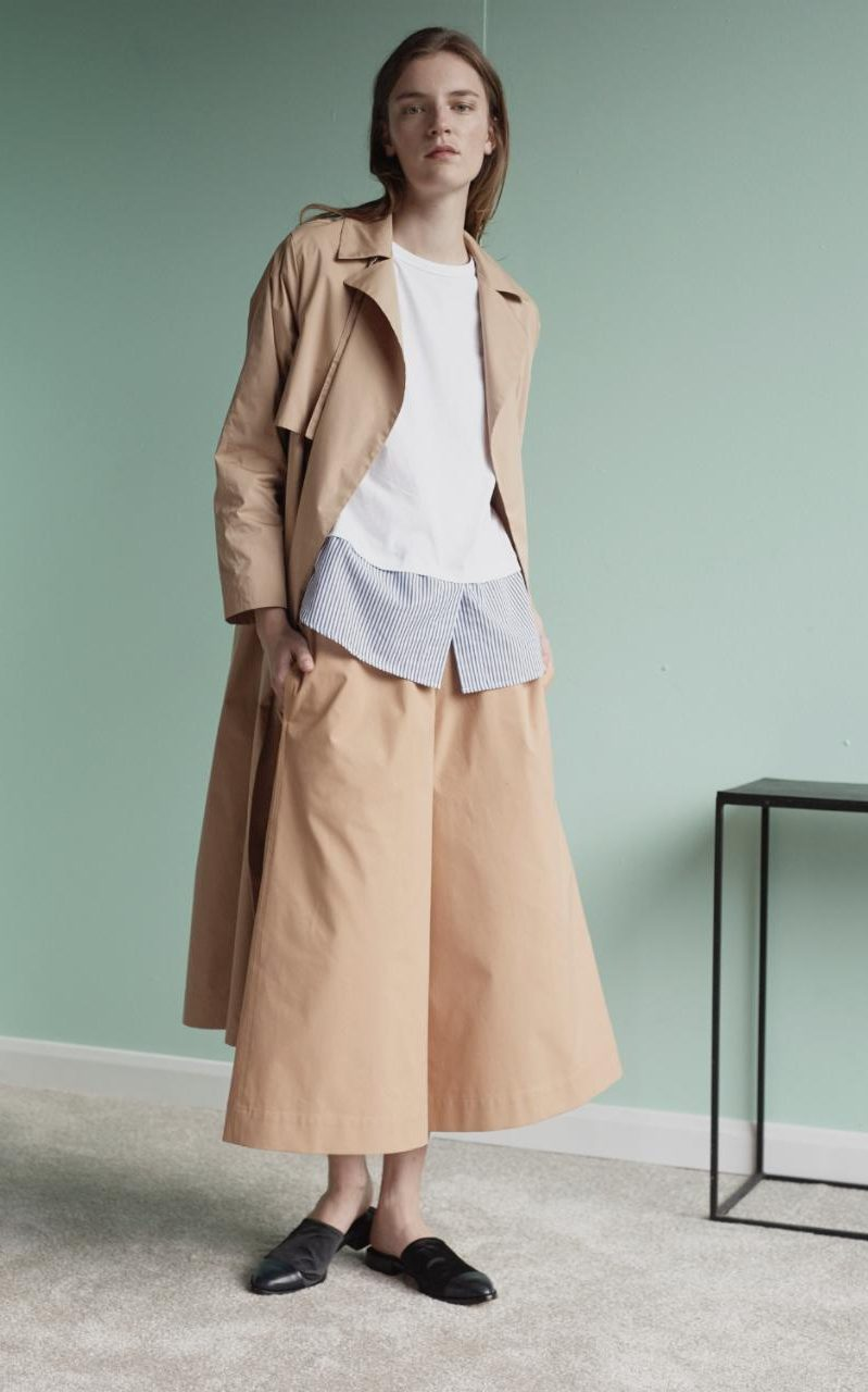 topshop boutique trench coat, cullottes, shirt, mules