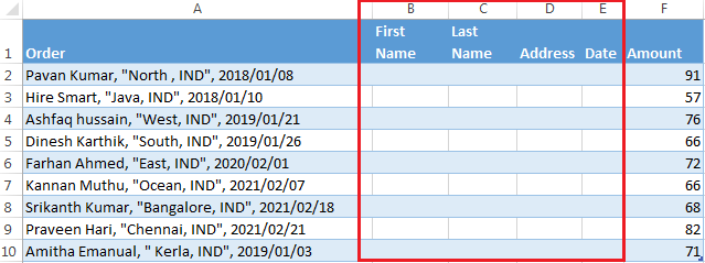 How to use Excel's Text to Columns