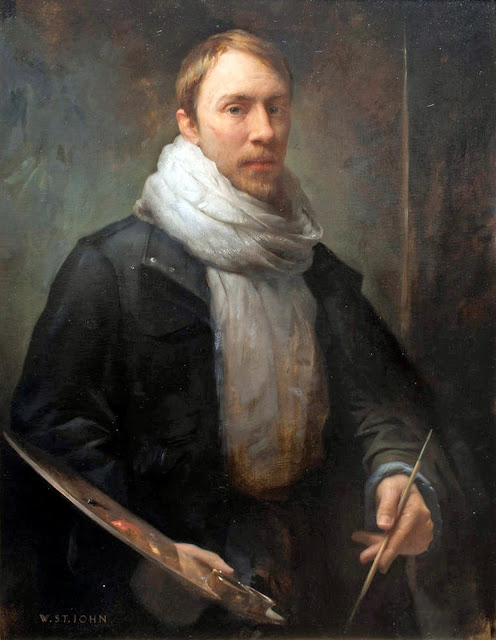 Will st John, Self Portrait, Portraits of Painters, Fine arts, Portraits of painters blog, Paintings of Will st John, Painter Will st John