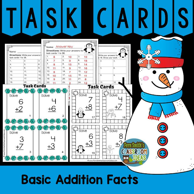 Fern Smith's Classroom Ideas Winter Themed Addition and Subtraction Task Cards at TeachersPayTeachers, TpT.