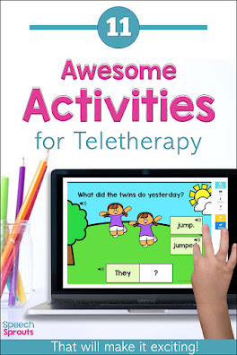 11 Awesome Activities for Speech Teletherapy! Engage your students online with this animated speech therapy Boom Card Deck that teaches regular past-tense ed verbs, WH questions and pronouns. Read the post to find more exciting speech therapy materials and activities for your speech and language sessions. #speechsprouts #speechtherapy #teletherapy