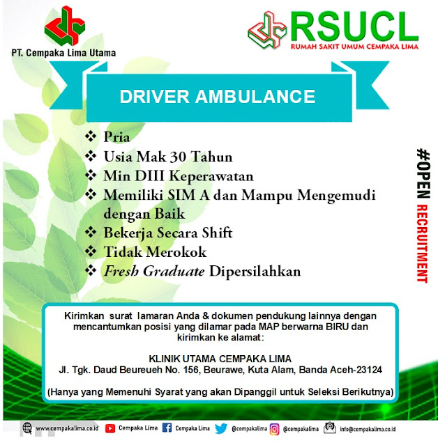 Lowongan Kerja Sebagai Driver Ambulance RSU Cempaka Lima Aceh Tahun 2020