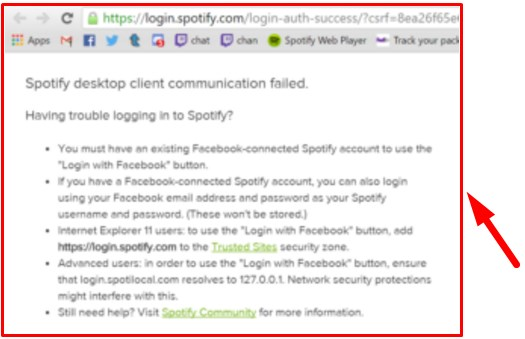 spotify facebook login not working