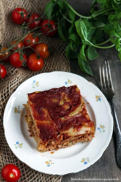 zapiekanka, gołabki, mieso mielone, obiad, pomidory, bernika, kulinarny pamietnik