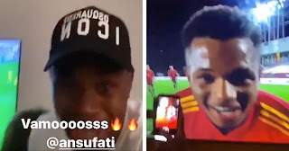 Video: Ansu Fati family goes Wild as their son becomes Spain youngest scorer in 100yrs.
