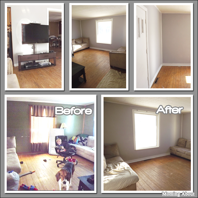 Before and After Painting the Living Room