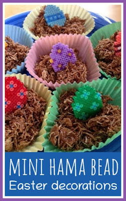 Mini Hama bead Easter decorations for cupcakes toppers