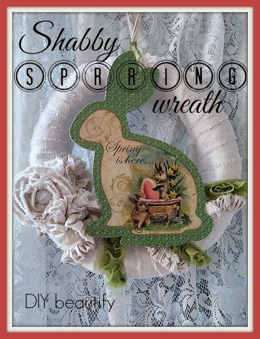 Shabby Spring Wreath with Bunny