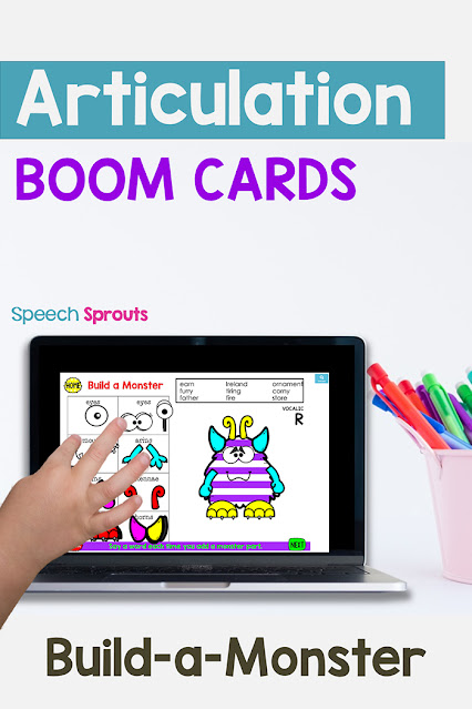 This child is playing a fun build-a-monster Articulation Boom cards teletherapy activity on a laptop for speech therapy. Articulation words for each phoneme are at the top of the page, this page is for Vocalic R practice. She'll drag a monster part each time she says her word. #speechsprouts