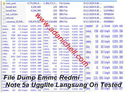 File Dump Emmc Redmi Note 5a Ugglite Langsung On Tested