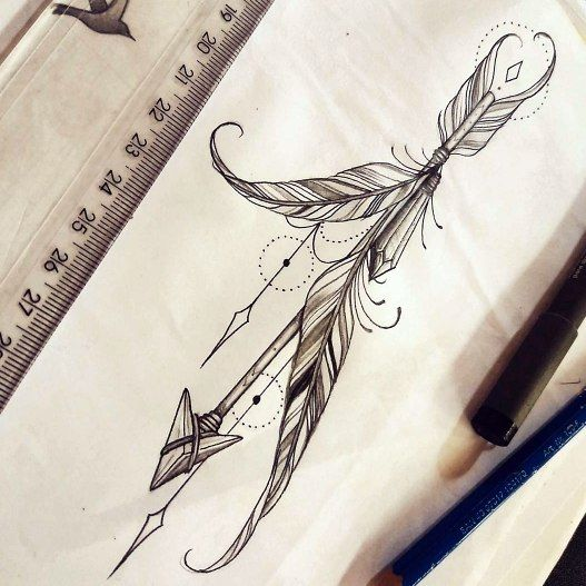 Awesome Arrow and Feather Tattoos For Women