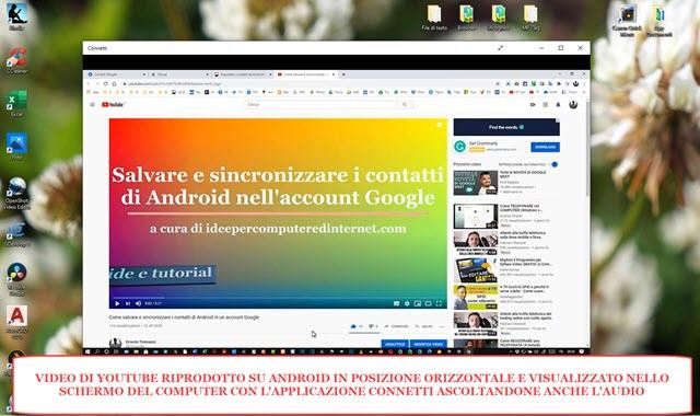 proiezione dello schermo di android in posizione orizzontale