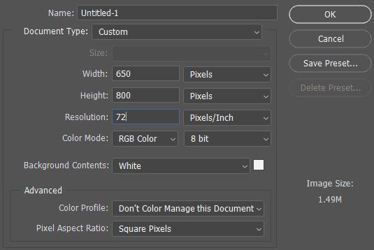 Ukuran dokumen baru untuk efek foto dalam huruf