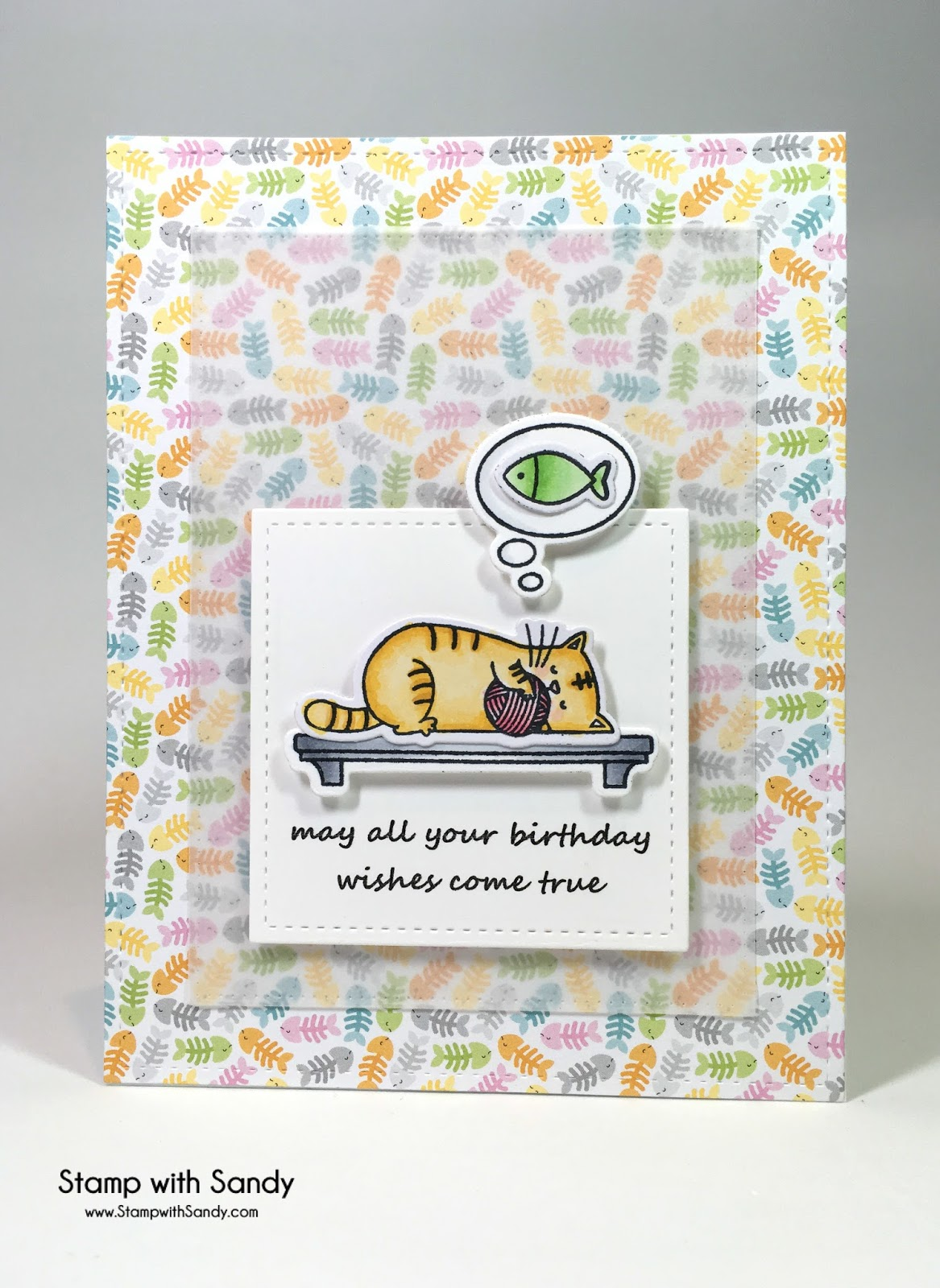 I Had Fun Using My Favorite Cat Themed Stamp Set From Things And Some Cute Patterned Paper By Doodlebug Originally Much
