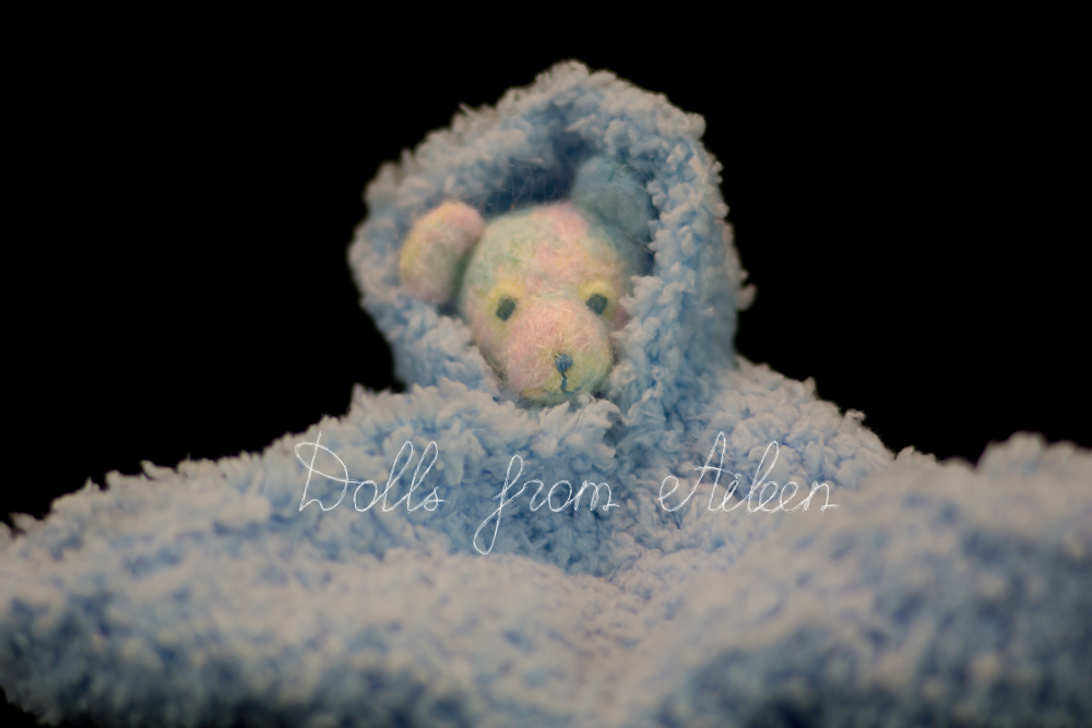 OOAK needle felted rainbow teddy bear