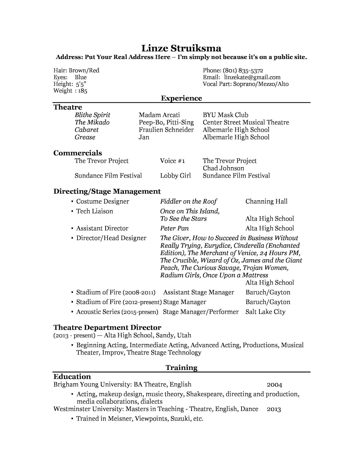 Alta High School Theatre Blog Acting Resume Example