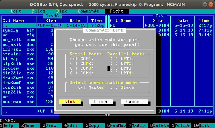 "PC1MH techlog: Norton Commander ""Link"" between DOS and Win10 computer"
