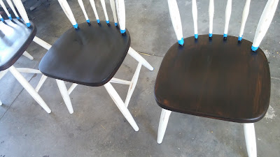 Two-toned farmhouse chairs DIY