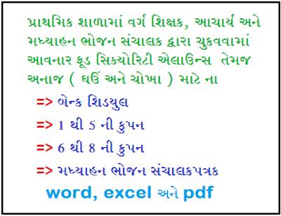 Download PDF For Food Security Allowance Ane Anaj Vahechani Mate Bank Schedule, STD 1 thi 8 ni Coupon ane Madhyahan Sanchalak matena Patrako