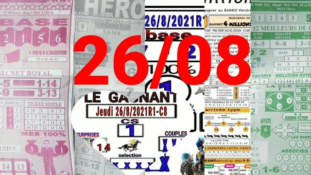 Pronostic quinté+ pmu jeudi Paris-Turf-100 % 26/08/2021