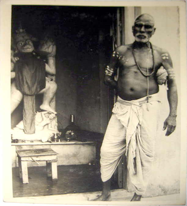 Indian Holy Man and Hanuman Idol - 1940's