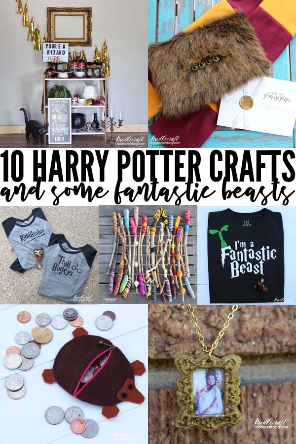 10 Harry Potter Crafts--with Fantastic Beasts DIY's, parties, shirts & wearables and other fun.
