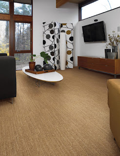 Tan carpet in large family room (stripe textured pattern)