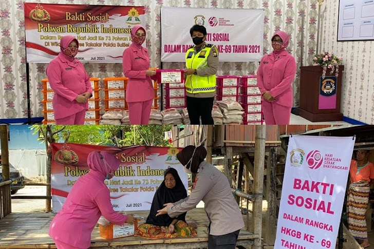 Ketua Bhayangkari Takalar Bersama Anggota Polwan Gelar Baksos Untuk Fakir Miskin dan Yatim Piatu