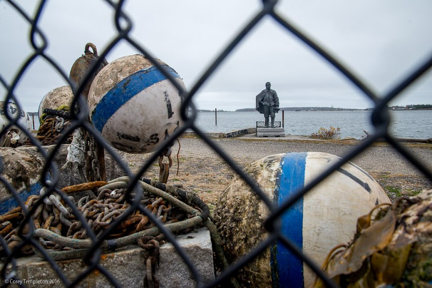 Portland, Maine USA November 2016 photo by Corey Templeton. A portion of the Eastern Waterfront and the George Cleeve statue on a somewhat-grey fall day.