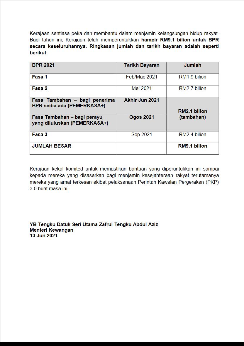 bpr 2021 tarikh rayuan dan bayaran bpr