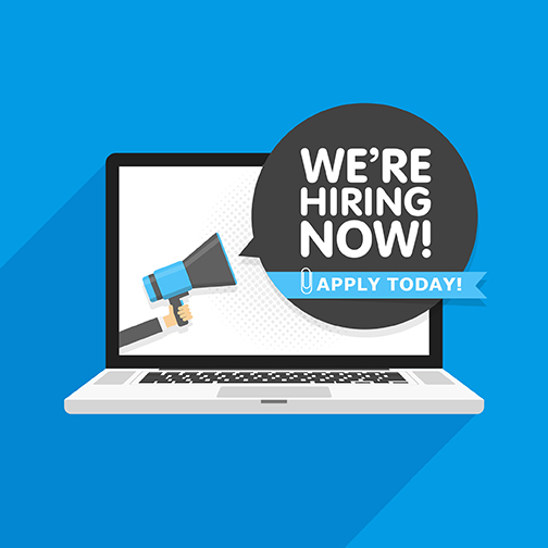 Laptop floating in blue space.  caption: We're hiring now.   Apply today