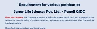 ITI/ Any Graduate B.Pharm /M. Pharm / B.Sc./ M.Sc Job Vacancy In Sagar Life Science Pvt. Ltd. Ankleshwar, Gujarat
