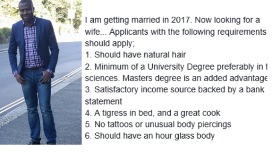 Check out what this Nigerian man wants in a woman