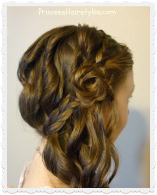 Side swept braided rose hairstyle with curls, tutorial