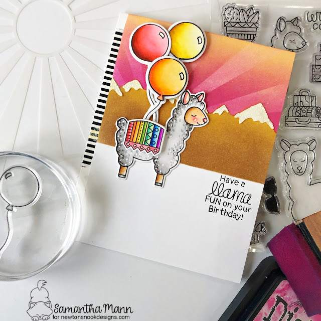 A Llama Fun Birthday Card by Samantha Mann | Loveable Llamas and Fabulous Frenchies Stamp Set and Mountains Stencil by Newton's Nook Designs