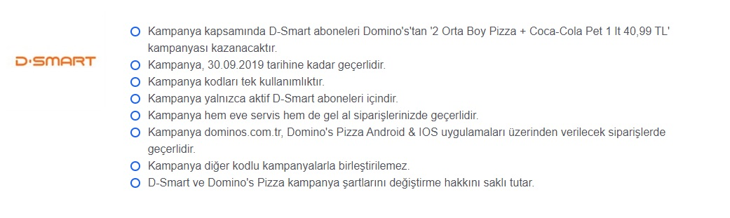 dominos pizza d-smart kampanyaları