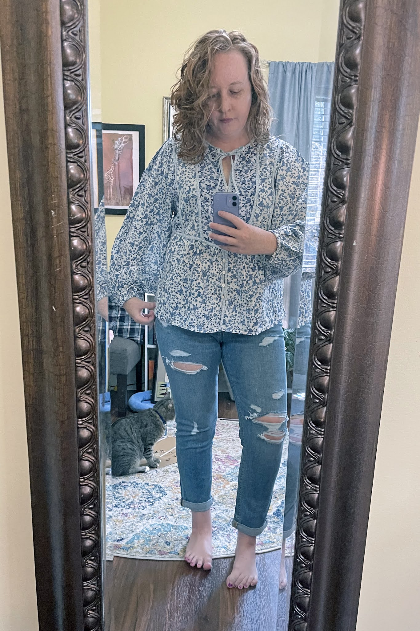 oversized-button-front-mixed-print-poet-blouse