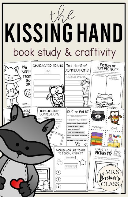 The Kissing Hand book study literacy unit with Common Core aligned companion activities and craftivity for Kindergarten and First Grade