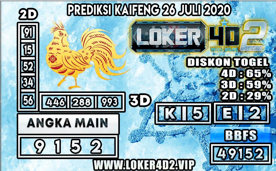 PREDIKSI TOGEL LOKER4D2 KAIFENG 26 JULI 2020