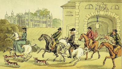 A noble hunting party by T Rowlandson  from Dr Syntax's Three Tours by William Combe (1868)