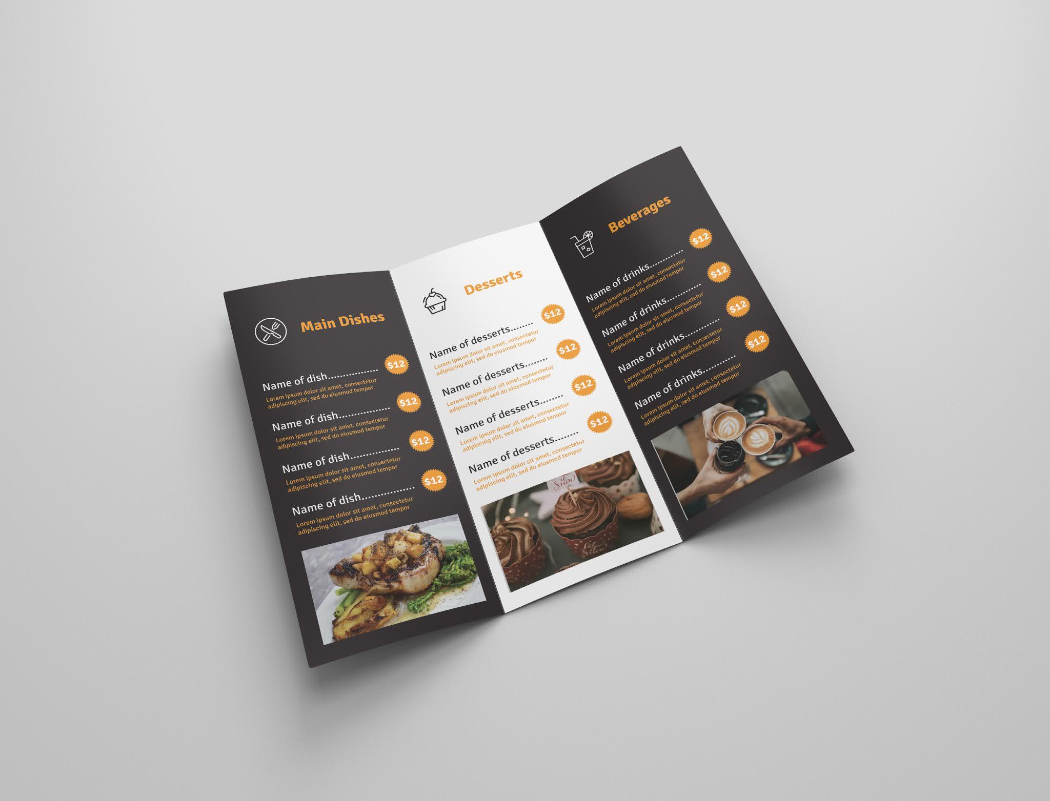 Download free food brochure psd, free food menu psd, free download 1